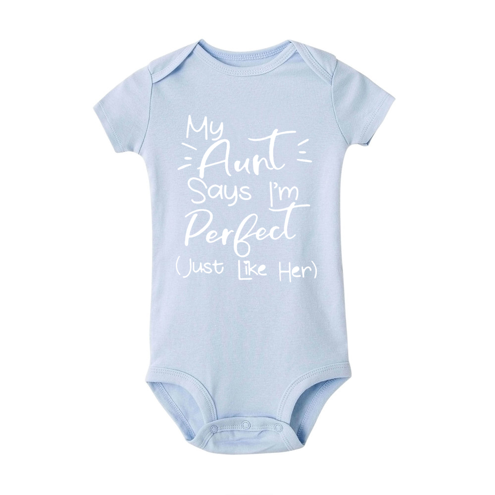 Toddler Jumpsuit My Aunt Says I m Perfect Letter Print Cotton Summer White Newborn Bodysuits Funny