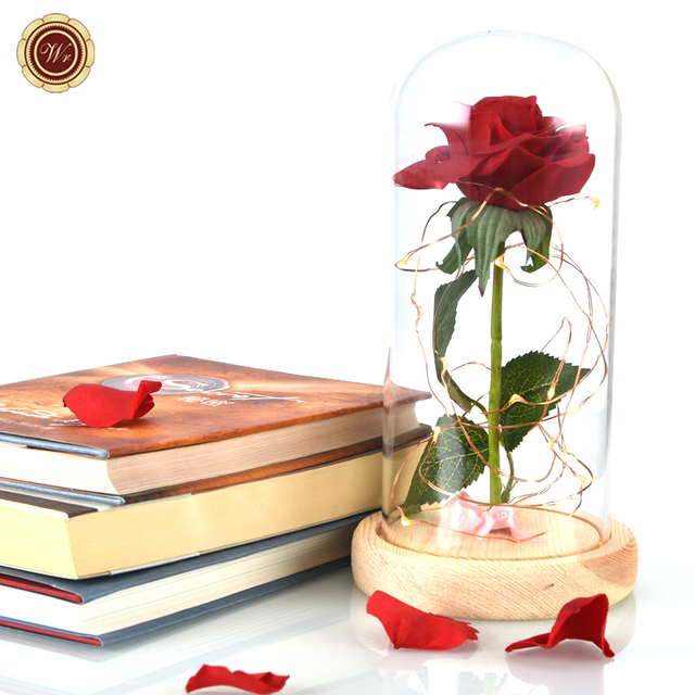 Wr Unique Gift Beauty And The Beast Red Rose W Fallen Petals In A