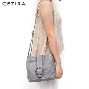 CEZIRA Candy Colors Women Flap HandBags Wash Pu Leather Cross body Bag Luxury Brand Messenger Bags Leather Shoulder Sac A Main