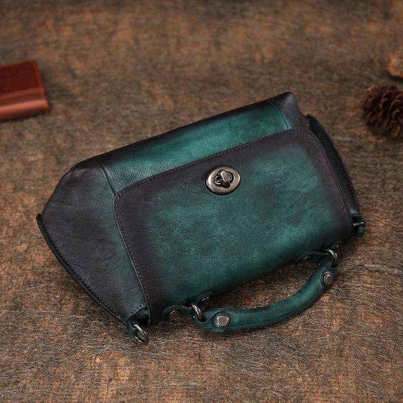 Retro Genuine Leather Women's Bag Original Handmade Leather Shoulder Bag Soft Leather Hasp Messenger Bag Female Saddle Handbag