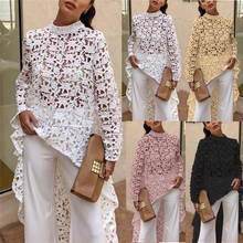 Womens Long Sleeve Blouse Stand Collar Loose Shirt Ladies Casual Lace Tops and Beach Club Party Wear Summer