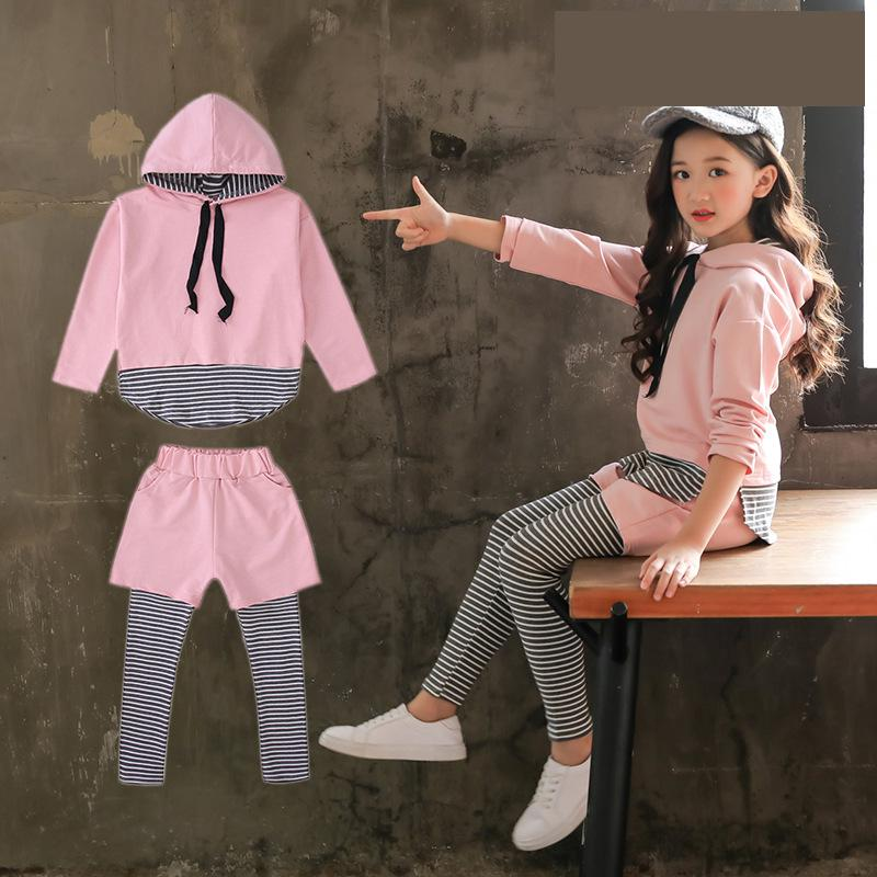 2018 Autumn School Girls Clothes Outfit Kids Clothes Sport Suit For Girls Clothing Sets Costume Hooded Sweatshirts + Pants 10 12 children boys clothes 2018 autumn winter girls clothes batman costume hoodie pant outfit kids sport suit for girls clothing sets