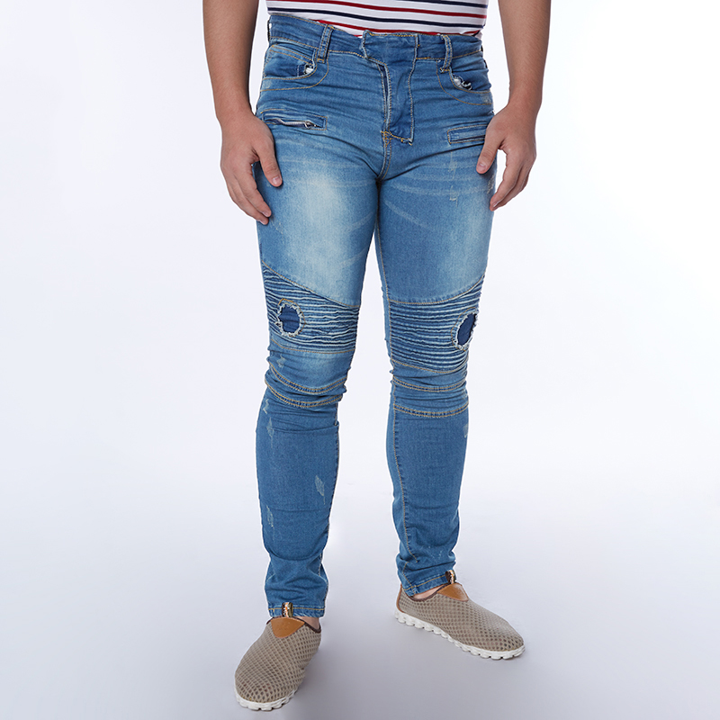 New Men Brand Clothing Casual Mens Jeans Skinny Slim Biker Jeans Denim Long Pants ripped jeans