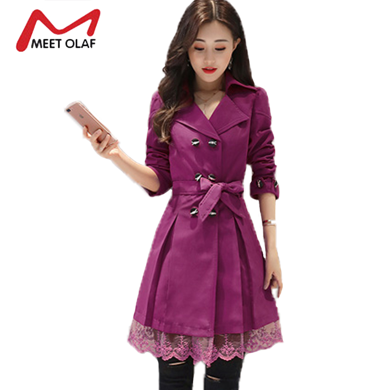 Especially Female Casual Long Coats Spring Autumn Women Trench coats Double Breasted Windbreakers Lace Slim Waist Outwear YL015