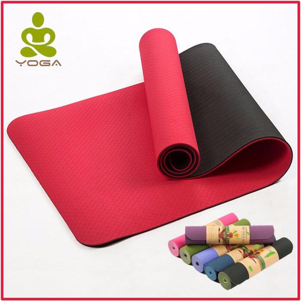 ★  6 мм двойной цвет 183cmX61cm TPE нескользящие коврики для йоги Фитнес безвкусно бренд пилатес 8 цвет ①