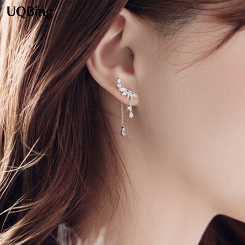 Tassel Stud Earrings Fashion 925 Silver Stud Earrings Jewelry Pendientes Brincos Fashion Jewelry Drop Shipping metal edge stud earrings