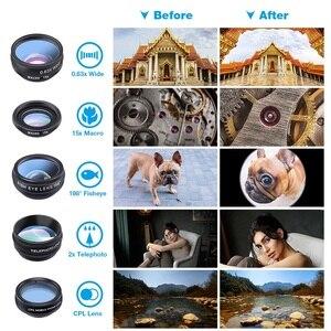 Image 3 - Набор объективов APEXEL для камеры телефона 10 в 1, широкоугольный телескоп «рыбий глаз», макрообъективы для мобильных телефонов iPhone, Samsung, Redmi 7, Huawei