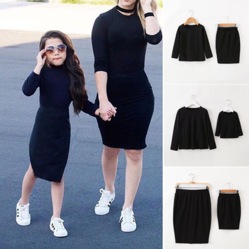 ded4d1755cd5 newest Family Dresses Mother Daughter Matching Baby Girl black Long Sleeve Top  Skirt Outfit slim casual set