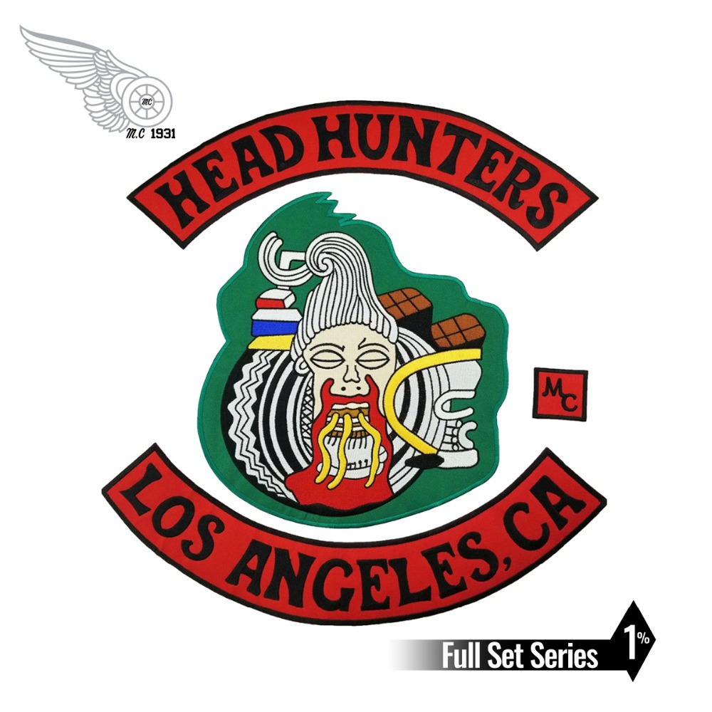 HEAD Hunters Motorcycle Biker Rider Vest <font><b>MC</b></font> Embroidered Iron On Back of Jacket <font><b>Patch</b></font> East Coast DIY Eco-Friendly Free Shipping image