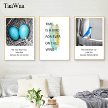 TaaWaa Black and white Canvas Poster Blue Bird Birdhouse Prints Painting Abstract Decorative Wall Art Pictures Home Room Decor