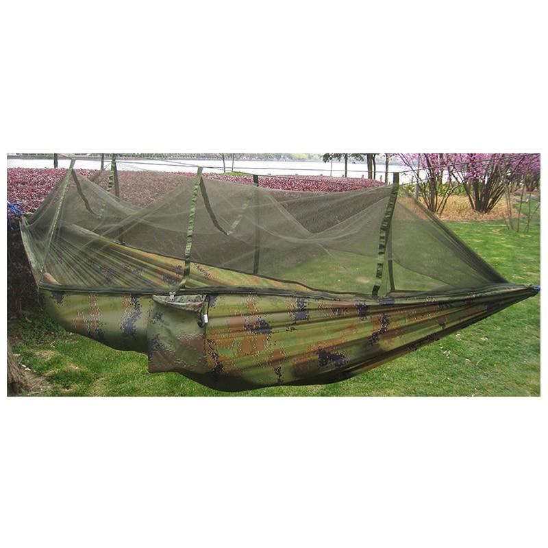 Двойной человек путешествий Открытый Кемпинг палатки подвесной гамак кровать и москитная сетка камуфляж