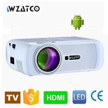WZATCO Android 6.0 WIFI Inteligente Portable HD LED TV Proyector 1800 Lúmenes Multimedia Home video Proyectores Mini Beamer envío de la gota