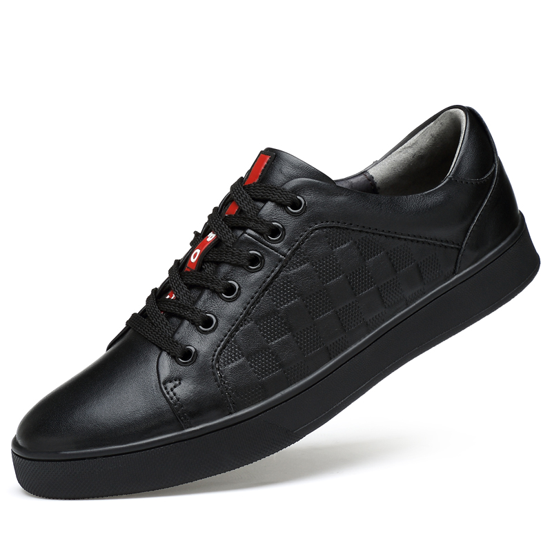 2018 New Brand Men's Leather Casual Shoes Lace Up Men Flat Luxury Brand Sneakers Genuine Leather Male Fashion Sneakers Krasovki