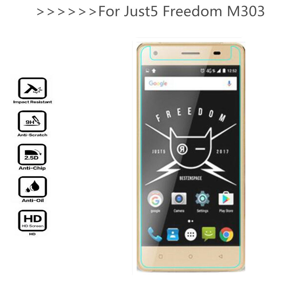 Tempered Glass For Just5 Freedom M303 Screen Protector 9H 2.5D Phone Protection Film Protective Glass For Just5 Freedom M303 image