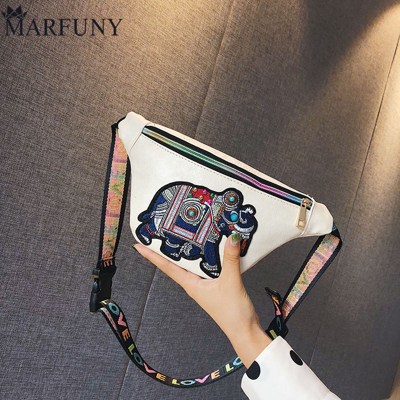 MARFUNY Brand Leather Women's Waist Bag Fashion Embroidery Belt Bag Female Fanny Pack For Girls Hip Bags For Women 2018 Purses