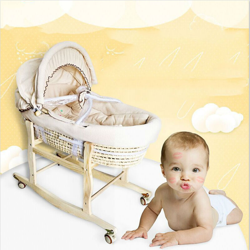 Multi-function portable crib bb bed baby basket baskets corn bran basket weaving cotton sleeping car cradle newborns 0-6 months corn bran baby crib bassinet 14 colors for choosing for 0 6 months little kids cradle cute and fancy for boys or girls hot