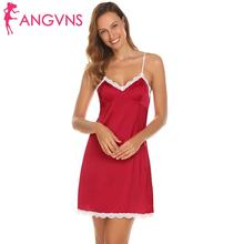 ANGVNS Sleepwear Women Lace-Trimmed WOMEN LOVE Strap Mini Dress Nighties  CUTE Spaghetti(China fd36b9651