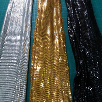 Brand 150cm x 45cm GOLDEN Metal Mesh Fabric Metallic cloth Metal Sequin Sequined Fabric Curtain Square Home Decoration Clothing