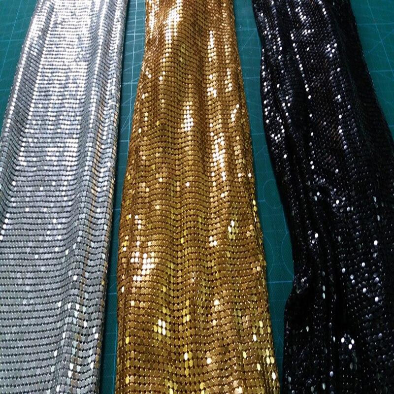 Marque 150 cm x 45 cm doré métal maille tissu métallique tissu métal Sequin paillettes tissu rideau carré décoration de la maison vêtements