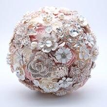 7f5bbdfcbc9 Soie fleurs pour mariage Strass Bijoux Blush Rose Broche Bouquet Or Broche  De Mariée robe de