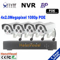 1080 P системы камеры безопасности 4 шт. POE IP камера и 1080 P видеонаблюдения NVR комплект системы 4ch POE NVR с POE жк-hdmi 1080 P
