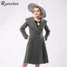 Ryanzhan Brand 2017 New Double Breasted Turn Down Collar Long Sleeve Trench Coat Plus Size Women Wool Coat Outerwear 3XL V119
