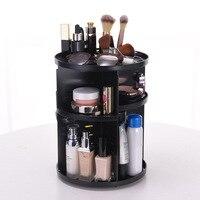 2 Colors 360 Rotating Adjustable Makeup Organizer Storage Box Large Capacity Rack for Cosmetics Brushes