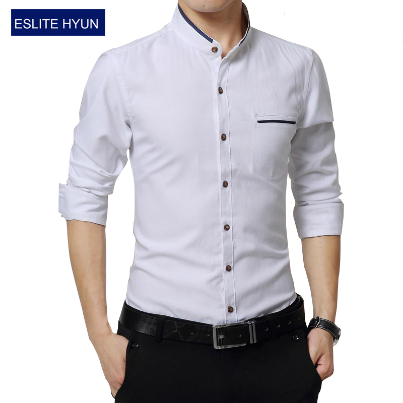 0bf66d5a041 Detail Feedback Questions about New Fashion Casual Men Shirt Long Sleeve  Mandarin Collar Slim Fit Shirt Men Korean Business Mens Dress Shirts Men  Clothes M ...