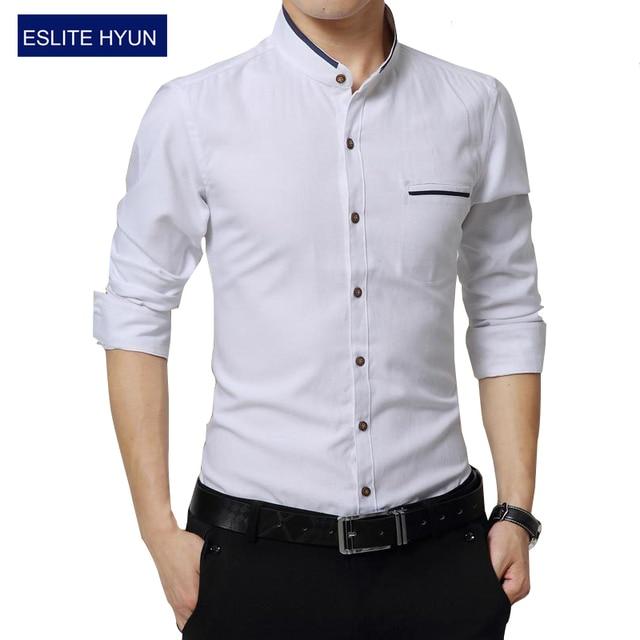 eb768727cd1f Nouveau Mode Casual Hommes Chemise À Manches Longues Col Mandarin Mince Fit  Shirt Hommes D