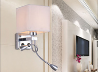 Modern wall sconce with switch wall bed lamps 2 pcs 1w led reading light hose rocker arm Reading lighting fabric lampshade