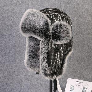 Image 4 - Chapeau bombardier en fourrure en lapin Rex, couvre neige, épaisse et chaude, en fourrure russe pour hommes, couvre oreilles, Ushanka, chaude, B 8433
