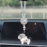 Car Pendant Ornaments Horse Crystal Pony Hanging Diamond Ball Rearview Mirror Decoration Rhinestone Car Interior Accessories