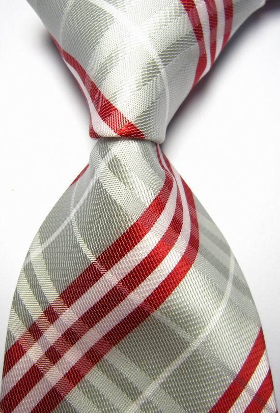 NT0117 Red Grey Striped Men Ties Silk Classic Polyester