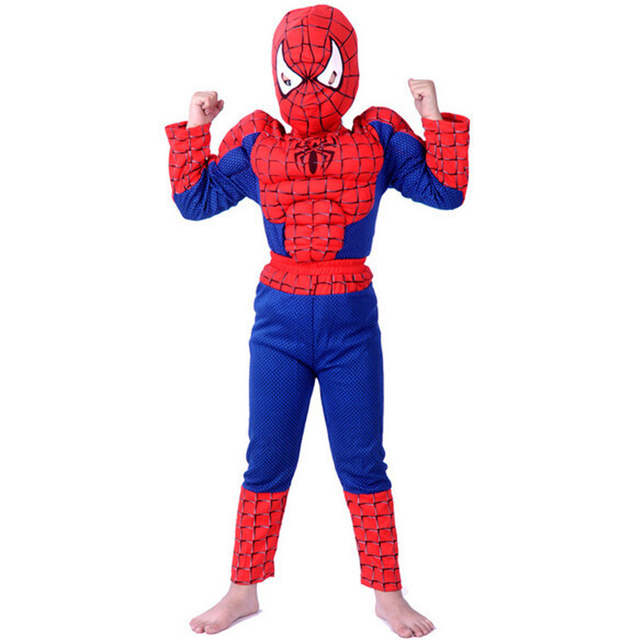 S-XXL Muscle spiderman costume children kid boy girl halloween costume the  spider man mask ball Masquerade party clohing