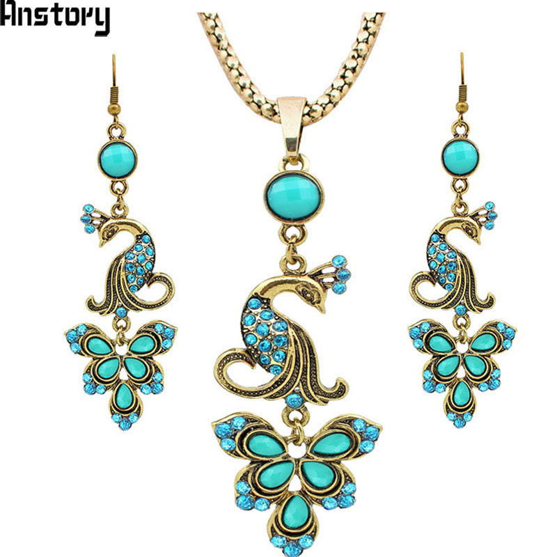 Vintage Jewerly set Tibet Alloy Antique Sliver Plated Fantastic Crystal Peacock Pendant Dangle Earrings Necklace TS262 цены