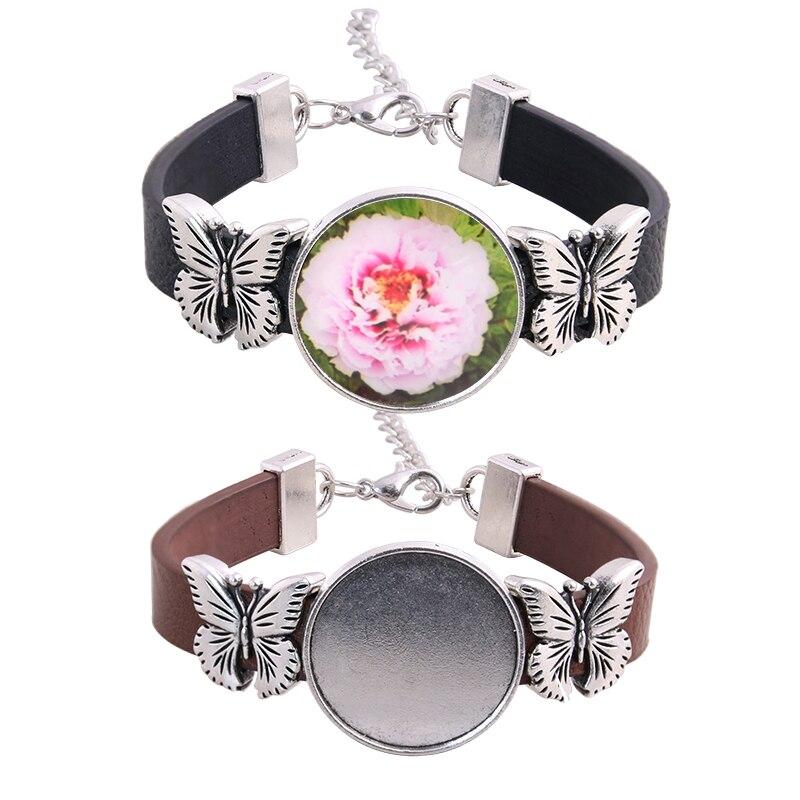 5pcs Fit 25mm Butterfly Round Cabochon Bracelet Blanks Diy PU Leather Bracelets Base Settings For Jewelry Making  D6466