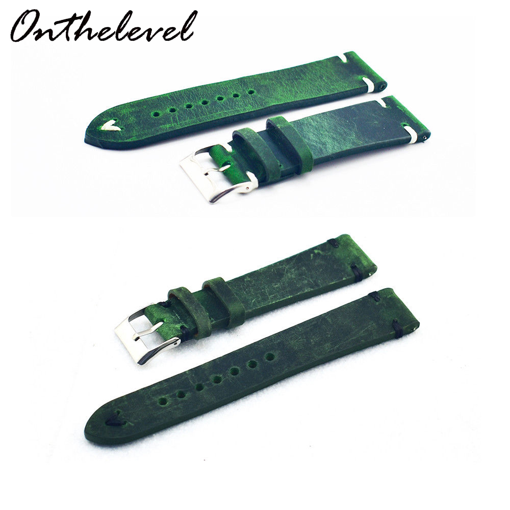 Onthelevel Handmade vintage watchband Genuine <font><b>Leather</b></font> <font><b>Watch</b></font> Strap Green Replacement <font><b>Band</b></font> Buckle 16 18 20 <font><b>22</b></font> 24 <font><b>mm</b></font> Quick releas image