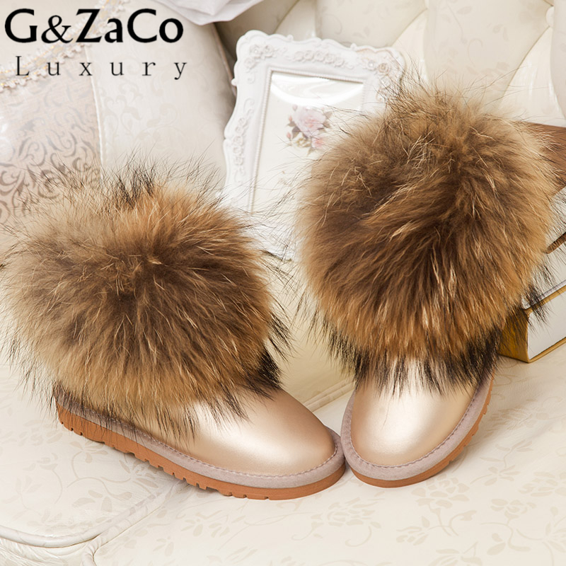 G&Zaco Luxury Winter Women Luxury Big Reccoon Dog Fur Natural Fox Fur Snow Boots Fur Boots  Shoes Low Short Boots Women's Shoes blackman malorie snow dog