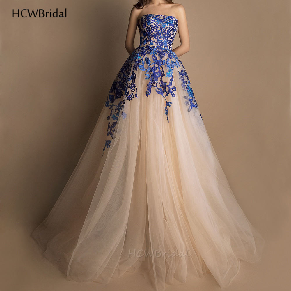 Graceful Arabic   Evening     Dress   Champagne Tulle Strapless A Line Chic Blue Lace Prom Gowns 2019 Custom Made Long Formal   Dresses