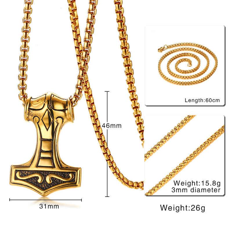 """Vnox colar dos homens do vintage thor martelo cor de ouro aço inoxidável 24 """"longa corrente gótico collier jóias presente natal"""