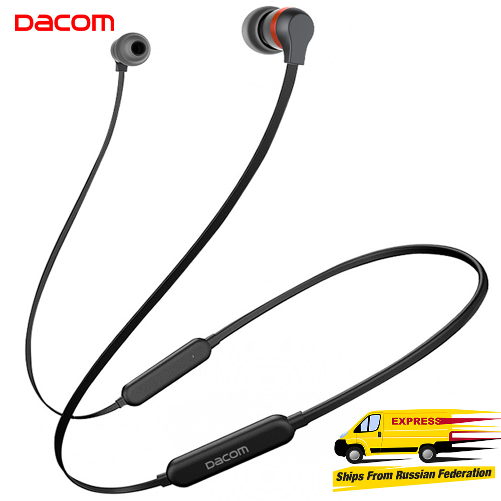 Dacom L06 Wireless Headphones Bluetooth Earphone Sports Stereo Bass in-Ear Earbuds Neckband Earphones Headset with Mic for Phone new fashion sweatproof wireless bluetooth v4 0 sports stereo headphones with mic ear hook earbuds earphones for iphone for sony