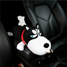 Cute Husky Car Tissue Box Holder Puppy Paper Pumping Case Organizer Stowing Tidy