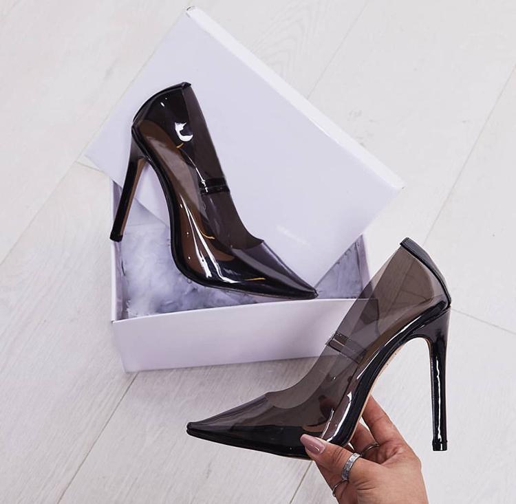 2018 Estate Nuova Sfilata di Moda Punta a punta IN PVC Trasparente Superiore High Heels Scarpe Donna Slip On Tacchi A Spillo Zapatillas Mujer - 2