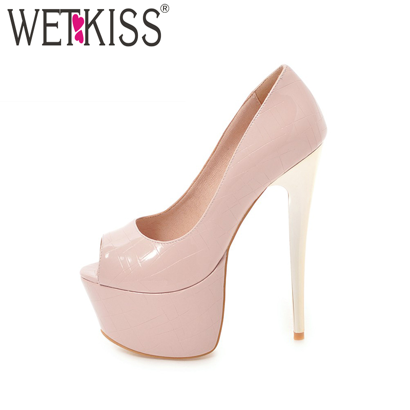 WETKISS Super High Heels Women Pumps Peep Toe Pencil Heels Female Platform Shoes Spring 2018 Fashion Ladies Party Shoes Big Size women luxury shoes platform pumps bridal wedding lolita shoes black red beige bottom peep toe high heels fetish shoes size 4 16