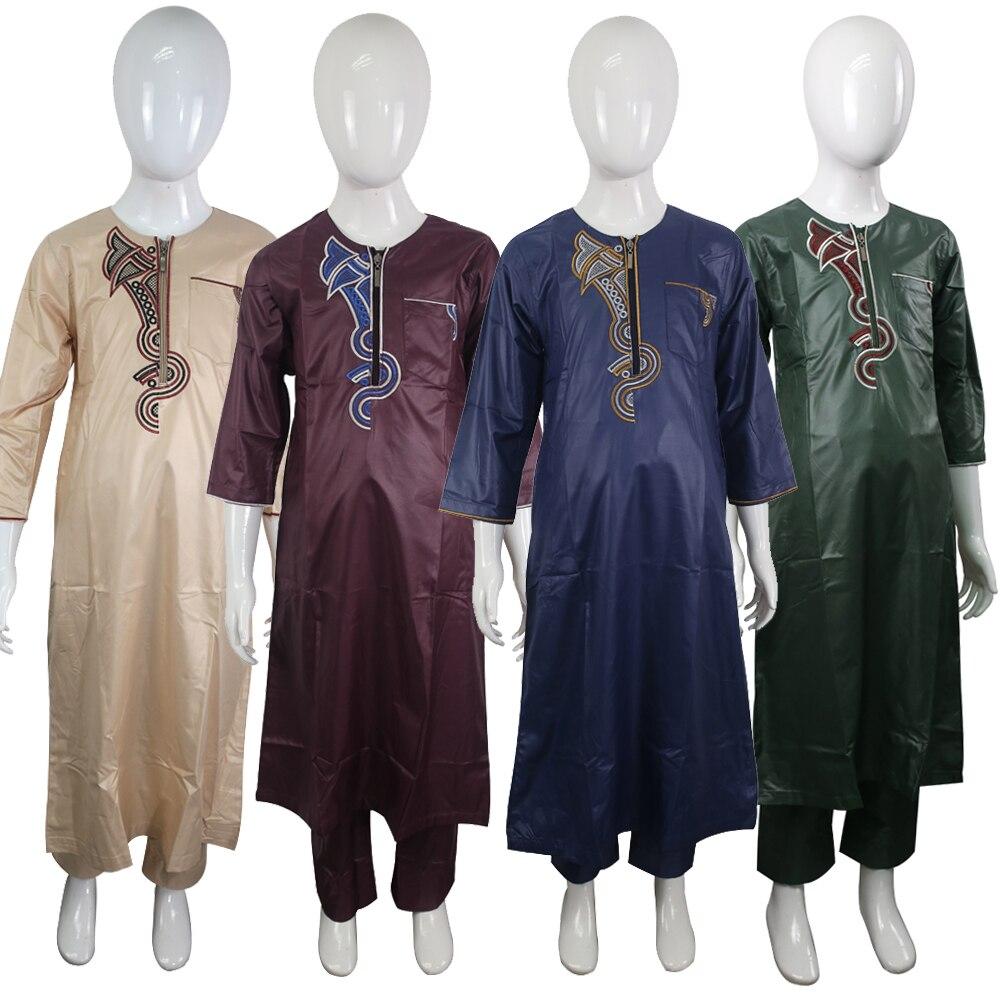 Arabic Zipper Jubba Thobe Indonesia Children Clothing Pakistan Embroidery Islamic 2 Pieces Suit For Kids Clothes Boys Dishdasha