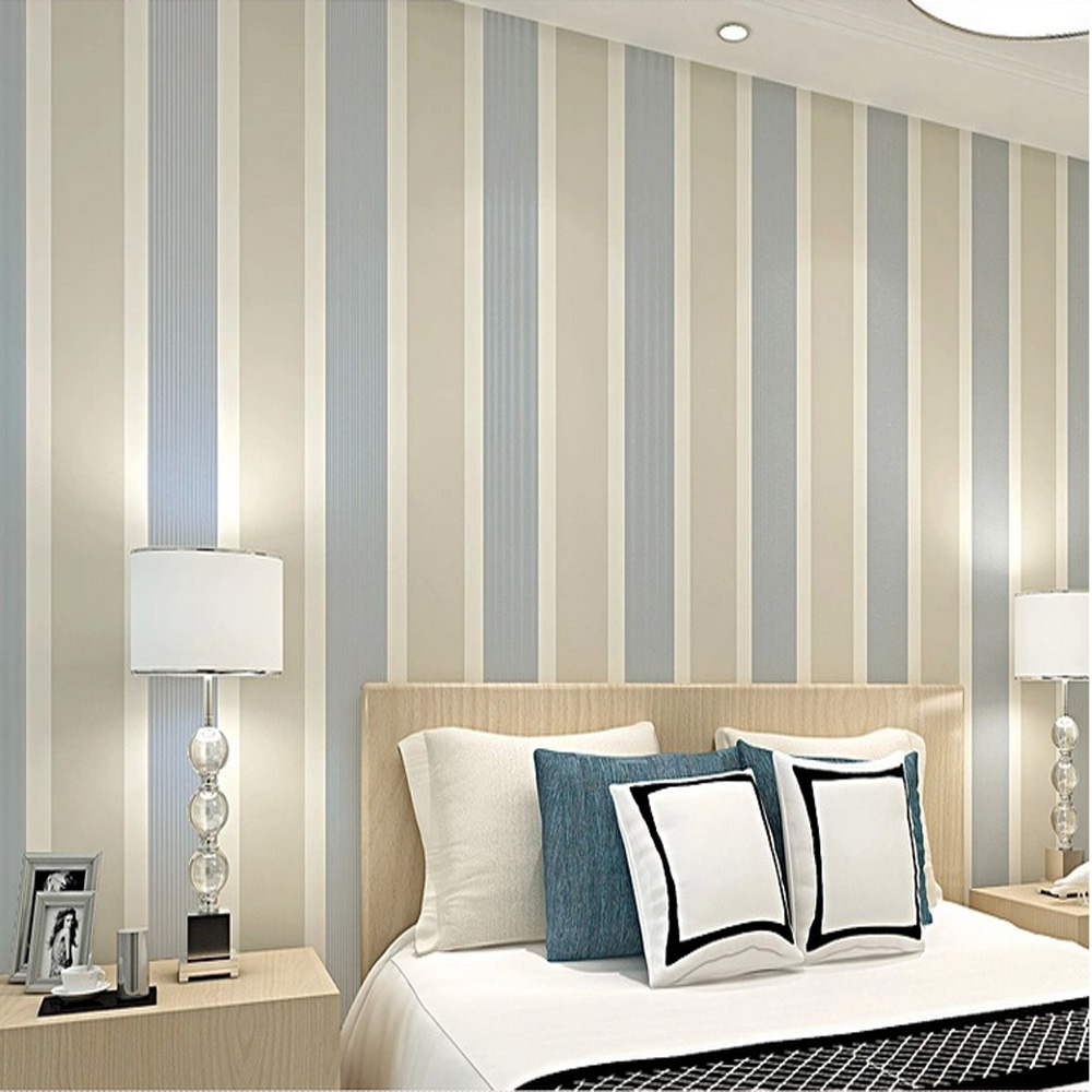 Q QIHANG High Texture Modern Minimalist Multicolor striped Non woven  Wallpaper Beige gray Color 0.53m*10m=5.3m2-in Wallpapers from Home  Improvement on ...