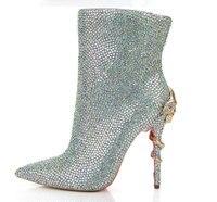 Новый дизайн, блестящие сапоги гладиаторы на высокой платформе со стразами, сапоги на высоком каблуке с вырезами и стразами, модельные туфл