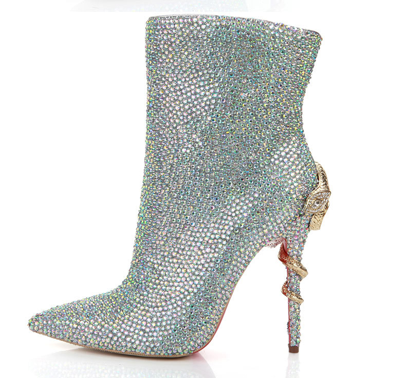 New Design Bling Bling Rhinestone High Platform Gladiator Boots Cut-out Crystal High Heel Boots Dress Shoes