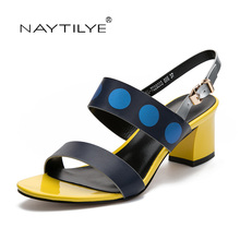 Women's pumps sandals Square heel Shoes woman Summer Fashion shoe PU Leather 36-41 Free shipping NAYTILYE