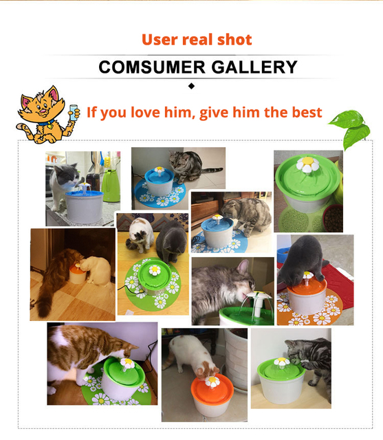 Automatic Cat Dog Pet Water Fountain Pet Bowl Cat Drinking Flower Water Dispenser Petsafe Drink with Filters Pet Water Fountain 3